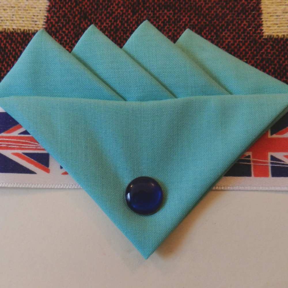 Blue (Bubblegum) Four Point Pocket Hankie & Pin